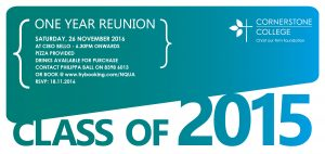 One Year Reunion Class of 2015 invite